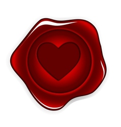 Wax seal heart vector