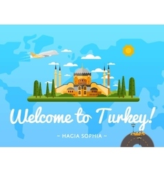 Welcome to turkey poster with famous attraction vector