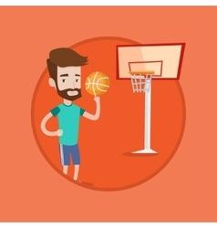 Hipster basketball player spinning ball vector