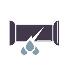 Dripping water pipe icon trumpet break in cartoon vector