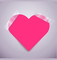 pink heart sticker attached with a scotch tape vector image