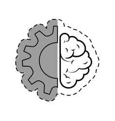 Brain human with gear creative icon vector