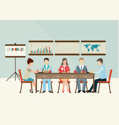 business meeting brainstorming in flat style vector image