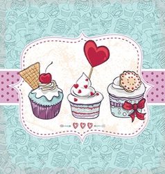 Card with a cupcake vector