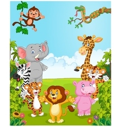 Cartoon collection happy animal vector