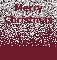 Lettering merry christmas on red backdrop white vector