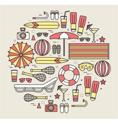 Summer vacation circle concept in thin lines style vector