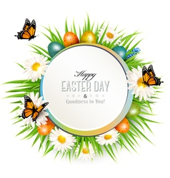 Happy easter background with grass butterflies and vector