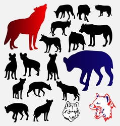 Wolf hyena silhouettes and logo vector