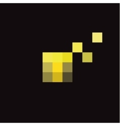 Pixel letter t in the form of abstraction yellow vector