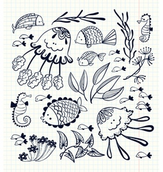 Floral set with doodle marine life inhabitants vector