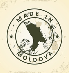 Stamp with map of Moldova vector image