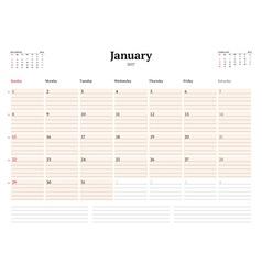 Calendar template for 2017 year january business vector
