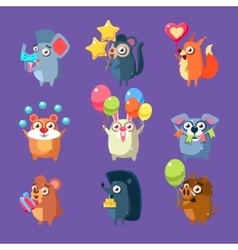 Animals with party elements set vector