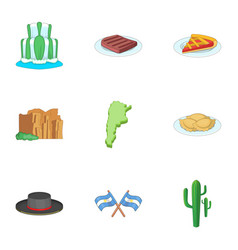 Argentina picnic icons set cartoon style vector