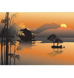 Asian lake vector image