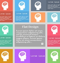 Brain icon sign Set of multicolored buttons with vector image vector image