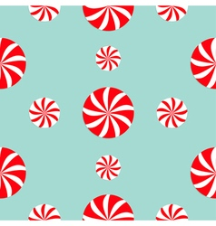 Christmas Round white and red candy sweet set vector image