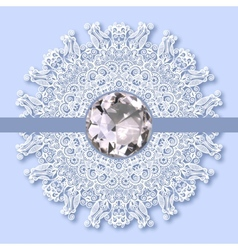 christmas snowflake decoration with diamond jewel vector image