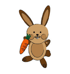 cute rabbit or bunny holding carrot icon image vector image