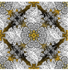 damask golden floral pattern on a white black vector image