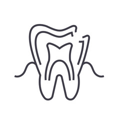 dental caries line icon sign vector image vector image