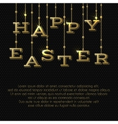 Easter greeting card with gold hanging letters vector image