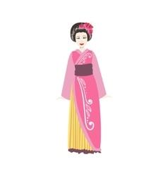 Japanese geisha in pink kimono vector