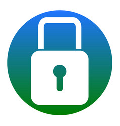 Lock sign white icon in vector