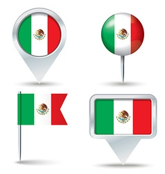 Map pins with flag of Mexico vector image vector image