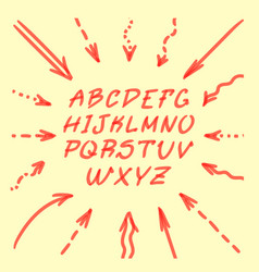 Marker hand written doodle arrows and letters vector