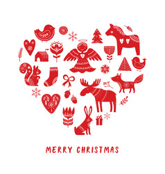 Merry christmas background with nordic style illus vector
