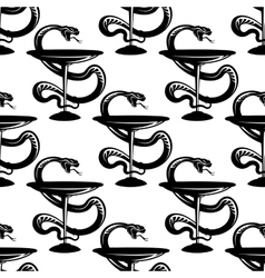 Pharmacy bowls with snakes seamless pattern vector