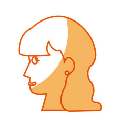 Profile head woman female long hair vector