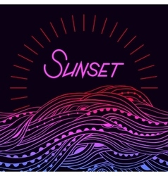 Sea Border Sunset vector image vector image