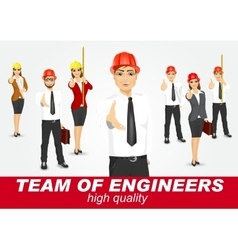 set of happy architects or engineers vector image vector image