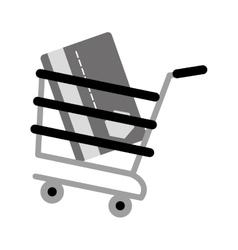 shopping cart online credit card bank gray color vector image