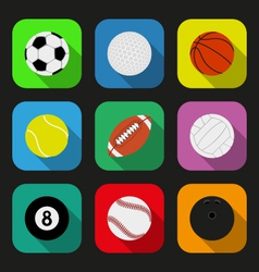 Sport balls flat icons set vector image vector image