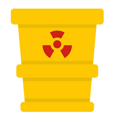 Ttrashcan containing radioactive waste icon vector