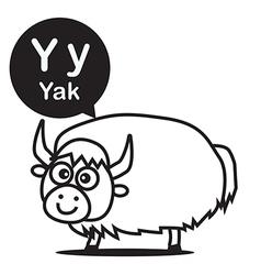 Y yak cartoon and alphabet for children to vector