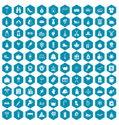 100 family tradition icons sapphirine violet vector image vector image