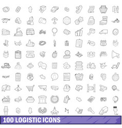 100 logistic icons set outline style vector