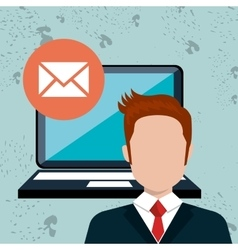 Man laptop message web vector