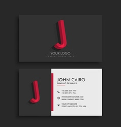 clean dark business card with letter J vector image