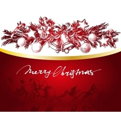 Christmas red and gold background with fir twigs vector