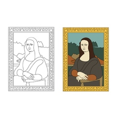 Linear flat of portrait the mona lisa by leonardo vector