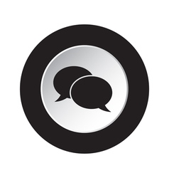Round black and white button - speech bubbles icon vector