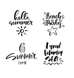 Black-white summer lettering vector