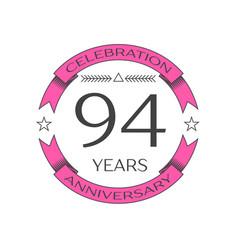 Ninety four years anniversary celebration logo vector