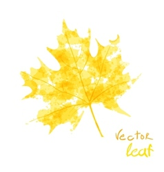 Watercolor orange leaf design element autumn vector image